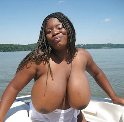Huge black tits on a boat. It..